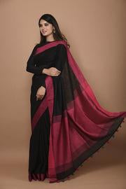 New Arrival Black Handwoven Linen Saree with Pink Border And Blouse