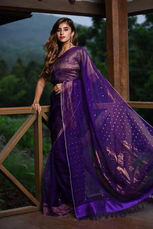 Gorgeous  Purple Shade Handwoven Matka Zari Silk Saree With Blouse