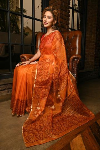 Orange Shade Organza Silk Handblock Print Saree With Blouse