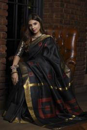Hypnotic Black Handwoven Tussar Raw Silk Saree With Blouse