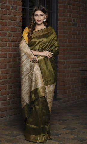 Olive Green Shade Handwoven Tussar Viscose linen Silk Saree with Ghicha Pallu