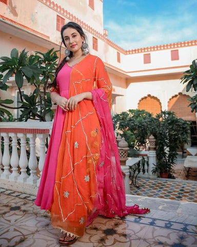 BUBBLE GUM PINK COLOUR NECK DESIGNER GOWN WITH PINK AND ORANGE COLOUR CHAX LACE CHIFFON DUPATTA