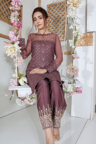 GRAPE PURPLE COLOUR NET FABRIC EMBROIDERY WORK STRAIGHT CUT KURTI WITH FANCY GRAPE PURPLE COLOUR PLAZZO