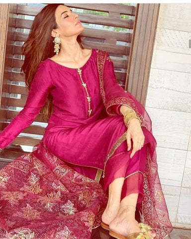 DARK PINK COLOUR DESIGNER STRAIGHT CUT KURTI WITH NET BORDER PLAZZO AND EMBROIDERY WORK DUPATTA