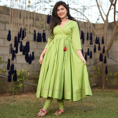 KEY LIME GREEN COLOUR PLAIN COTTON ROUNDER LONG KURTI WITH  PLAIN GREEN COLOUR BOTTOM