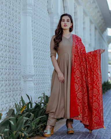 MINK GREY COLOUR ROUNDER PLAIN LONG KURTI WITH GREY COLOUR PLAZZO AND RED COLOUR PRINTED DUPATTA