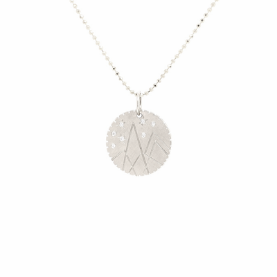 Julez Bryant 14k White Gold Small Mountain Medallion - Jackson Hole Jewelry Company