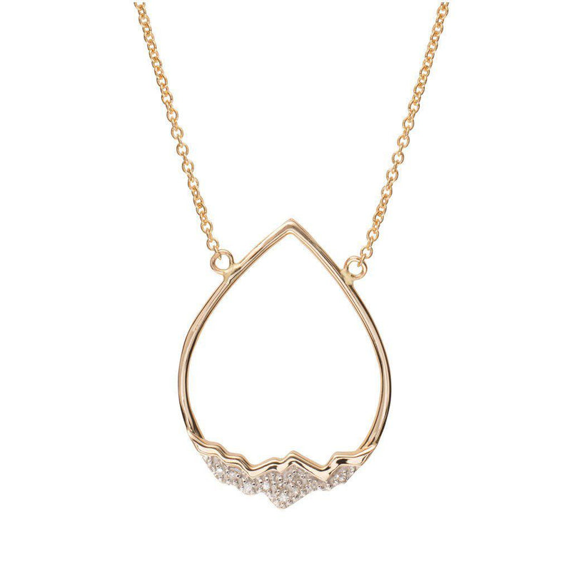 14 Karat Gold Tear Drop Necklace with Diamond Inverted Tetons - Jackson Hole Jewelry Company