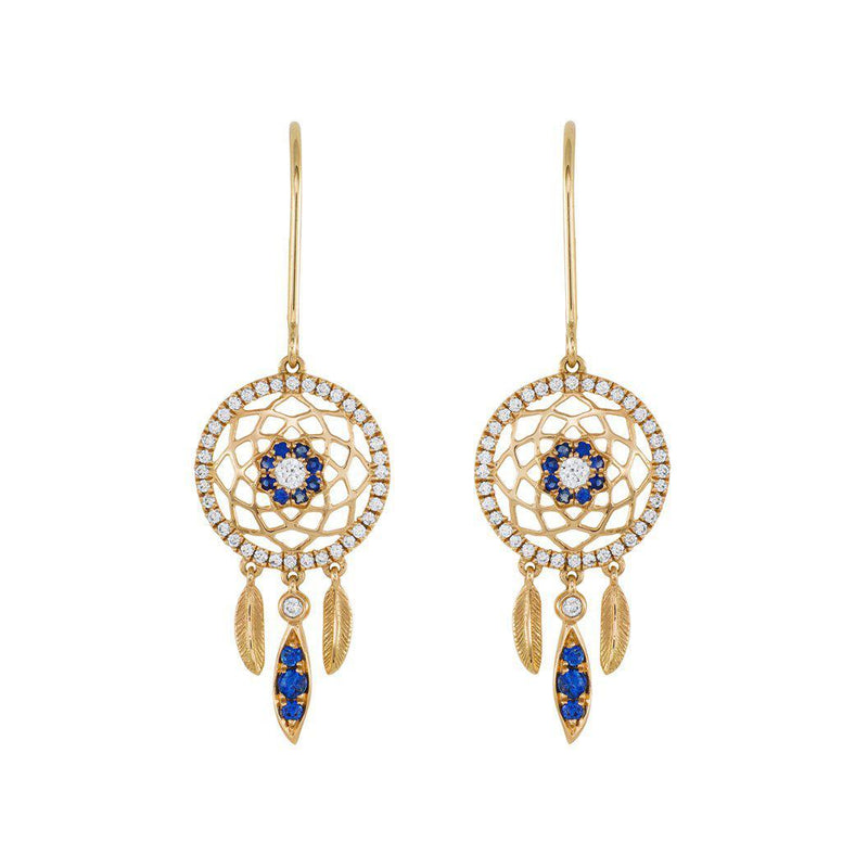 18 Karat Diamond and Sapphire Dreamcatcher Earrings