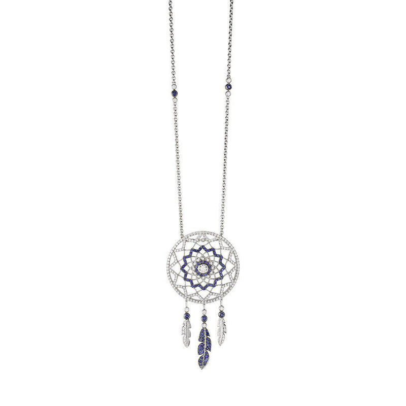 18 Karat White Gold with Diamond and Sapphire Dreamcatcher Necklace