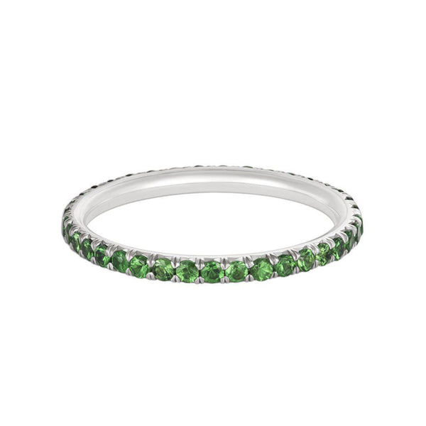 18 Karat Green Tsavorite Pavé 1.5mm Eternity Band Only - Jackson Hole Jewelry Company  - 3