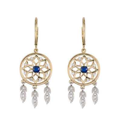 18 Karat White and Yellow Gold with Diamond and Blue Sapphire Dreamcatcher Earrings - Jackson Hole Jewelry Company