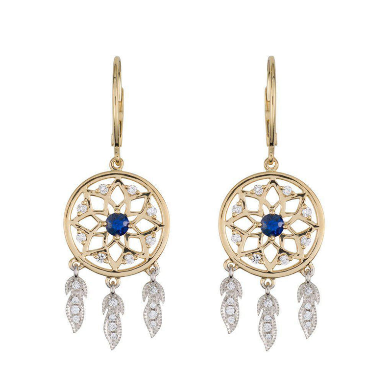 18 Karat White and Yellow Gold with Diamond and Blue Sapphire Dreamcatcher Earrings