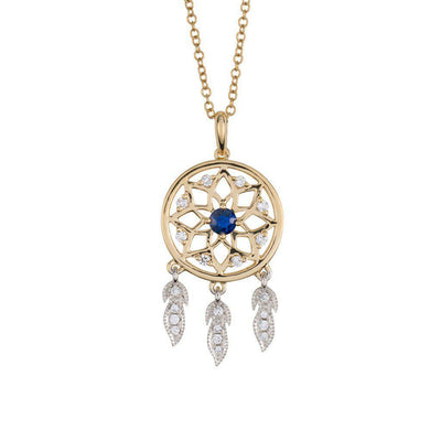 18 Karat White and Yellow Gold with Diamond and Blue Sapphire Dreamcatcher Pendant - Jackson Hole Jewelry Company