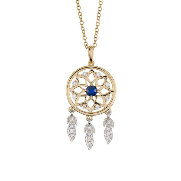 18 Karat White and Yellow Gold with Diamond and Blue Sapphire Dreamcatcher Pendant