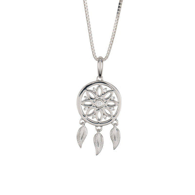 18 Karat White Gold and Diamond Dreamcatcher Pendant - Jackson Hole Jewelry Company