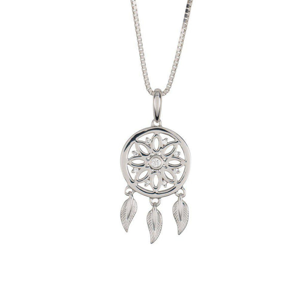 18 Karat White Gold and Diamond Dreamcatcher Pendant
