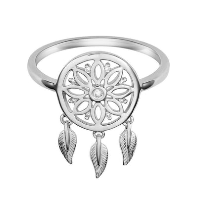 18 Karat White Gold and Diamond Dreamcatcher Ring - Jackson Hole Jewelry Company