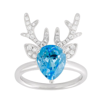 18 Karat White Gold Blue Topaz and Diamond Deer Antler Ring - Jackson Hole Jewelry Company