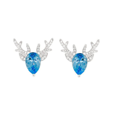 18 Karat White Gold Blue Topaz and Diamond Earrings - Jackson Hole Jewelry Company