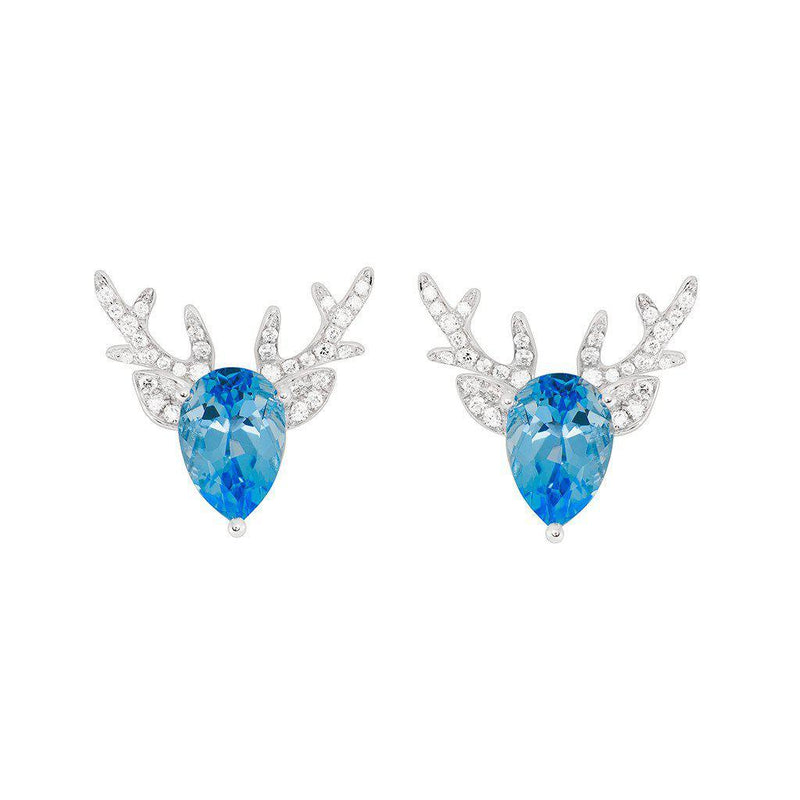 18 Karat White Gold Blue Topaz and Diamond Earrings