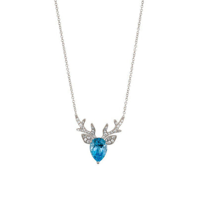 18 Karat White Gold Blue Topaz and Diamond Pendant - Jackson Hole Jewelry Company
