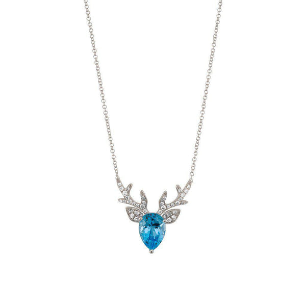18 Karat White Gold Blue Topaz and Diamond Pendant