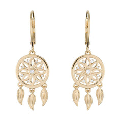 18 Karat Yellow Gold Dreamcatcher Earrings - Jackson Hole Jewelry Company