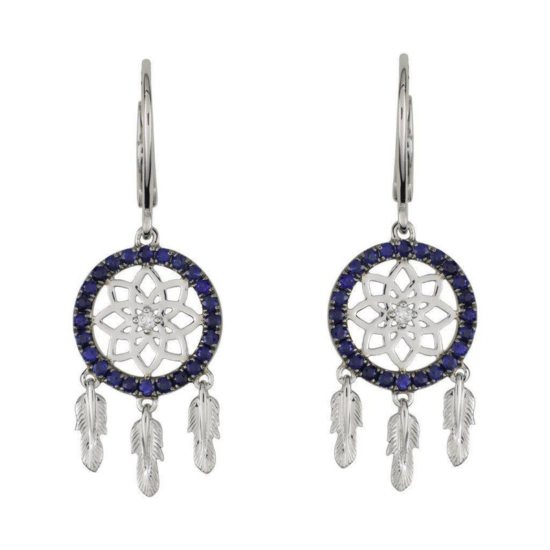 18 Karat White Gold with Diamond and Blue Sapphire Dreamcatcher Earrings