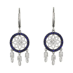 18 Karat White Gold with Diamond and Blue Sapphire Dreamcatcher Earrings - Jackson Hole Jewelry Company