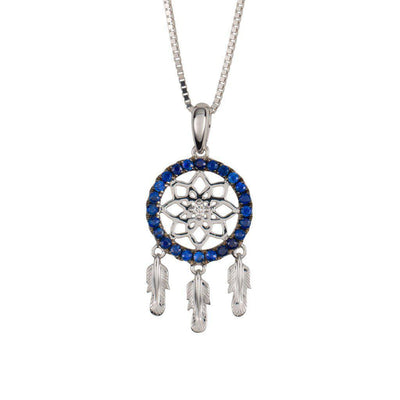 18 Karat White Gold with Diamond and Blue Sapphire Dreamcatcher Pendant - Jackson Hole Jewelry Company