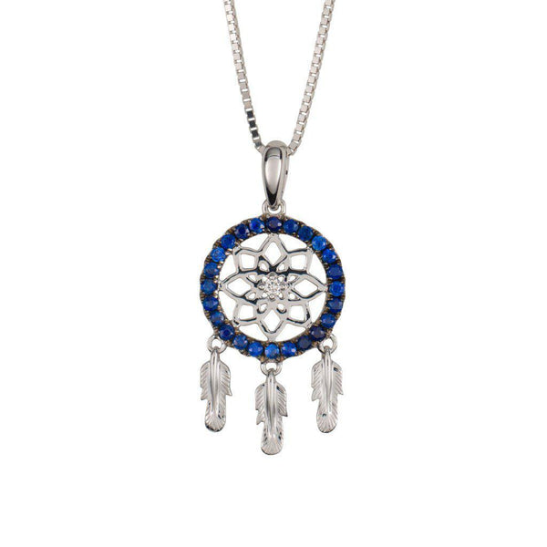 18 Karat White Gold with Diamond and Blue Sapphire Dreamcatcher Pendant