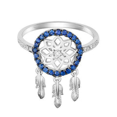 18 Karat White Gold with Diamond and Blue Sapphire Dreamcatcher Ring - Jackson Hole Jewelry Company