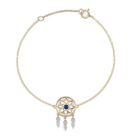 18 Karat Yellow and White Gold with Diamond and Blue Sapphire Dreamcatcher Bracelet - Jackson Hole Jewelry Company