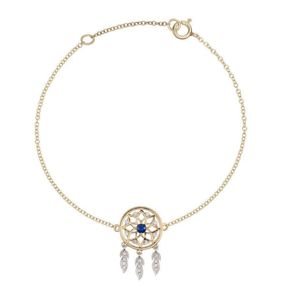 18 Karat Yellow and White Gold with Diamond and Blue Sapphire Dreamcatcher Bracelet