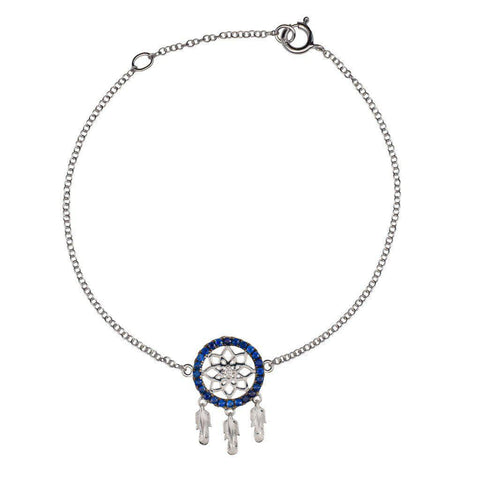 18 Karat White Gold with Diamond and Blue Sapphire Dreamcatcher Bracelet - Jackson Hole Jewelry Company