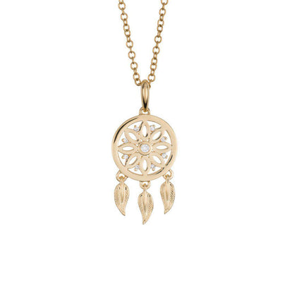 18 Karat Yellow Gold and Diamond Dreamcatcher Pendant - Jackson Hole Jewelry Company