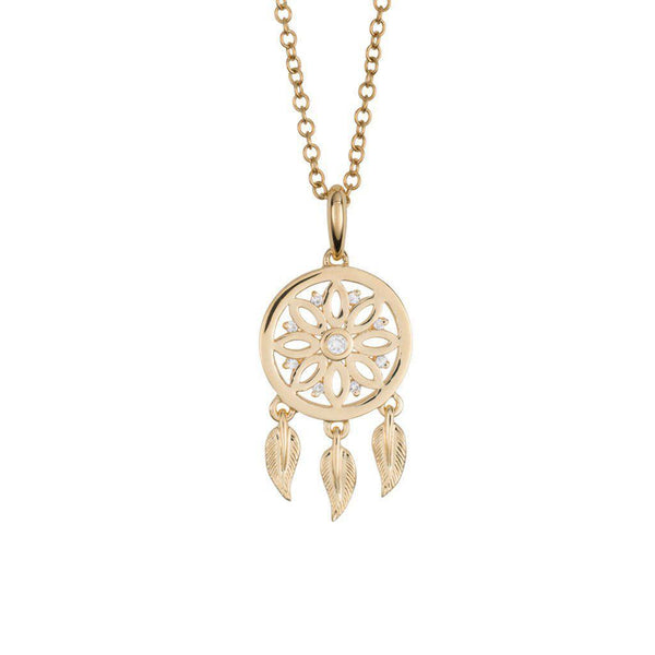 18 Karat Yellow Gold and Diamond Dreamcatcher Pendant
