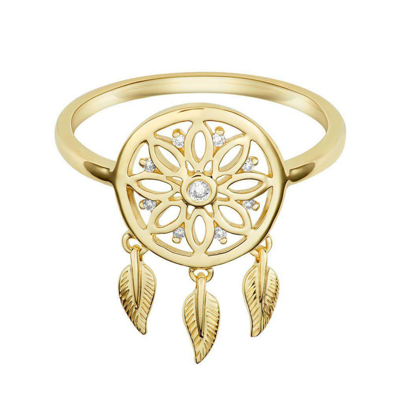 18 Karat Yellow Gold and Diamond Dreamcatcher Ring