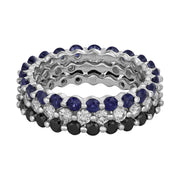 18K White Gold Shared Prong Sapphire Eternity Ring - Jackson Hole Jewelry Company