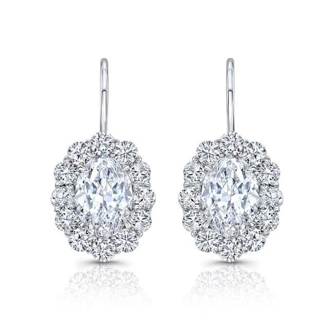 Oval Scalloped Halo Drop Diamond Earrings - Jackson Hole Jewelry Company