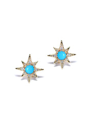 ANZIE Aztec Mini Starburst Stud Earrings with Opal, Turquoise or Clear Topaz - Jackson Hole Jewelry Company