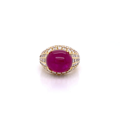 Picchiotti Oval Cabochon Burmese Ruby Ring - Jackson Hole Jewelry Company