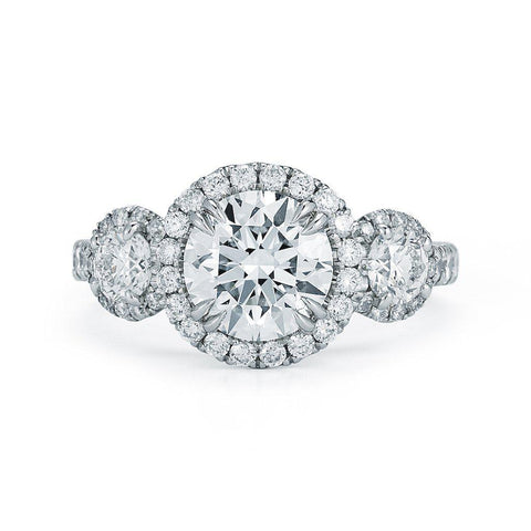 3 Stone Round Pave Halo Diamond Ring - Jackson Hole Jewelry Company