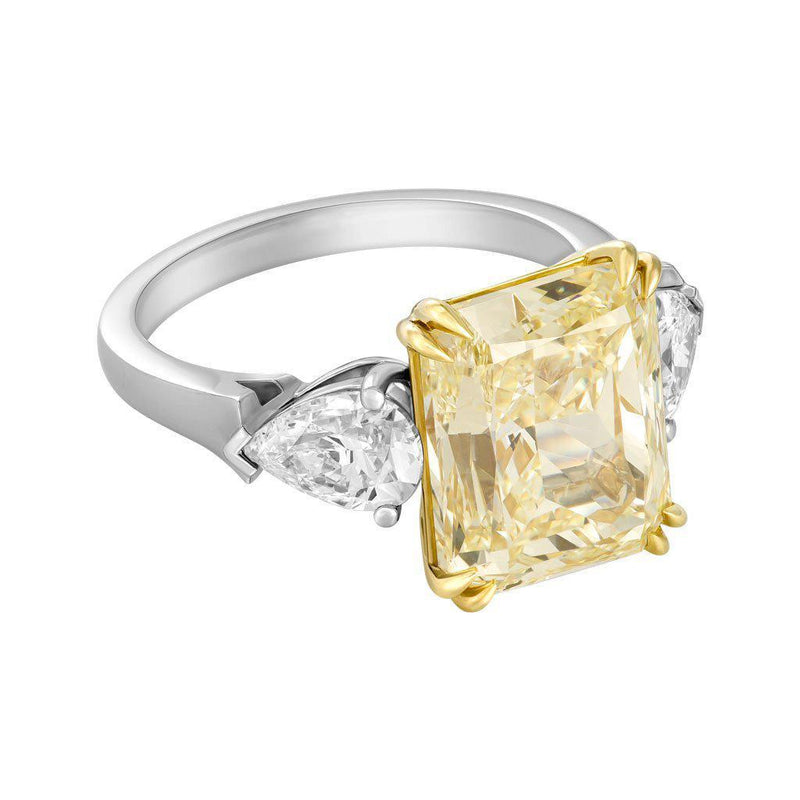 7 Carat Natural Fancy Yellow Radiant Cut Diamond Ring