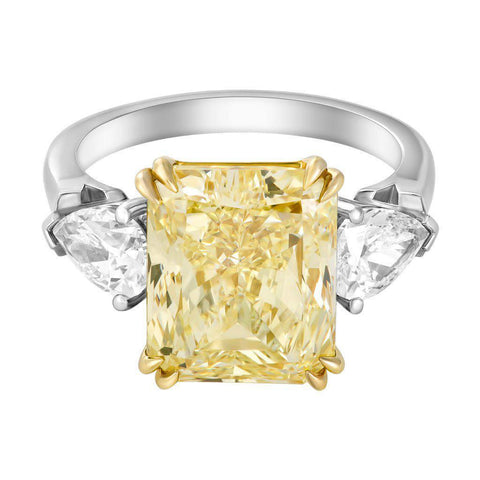 7 Carat Natural Fancy Yellow Radiant Cut Diamond Ring - Jackson Hole Jewelry Company