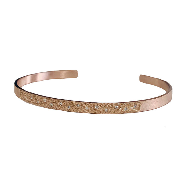 Julez Bryant 14k Rose Gold Cuff Bracelet with White Diamond Pave