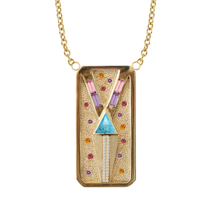 Julez Bryant Rectangular Necklace with Stone Accents. - Jackson Hole Jewelry Company