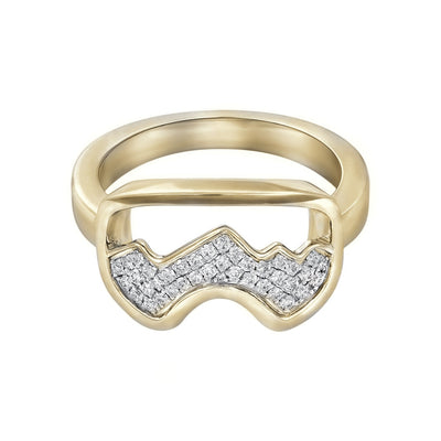 Two-toned Diamond Teton Ski Goggle Ring - Jackson Hole Jewelry Company