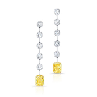 Rahaminov White and Yellow Diamond Bar Earrings - Jackson Hole Jewelry Company
